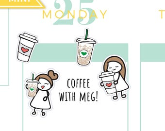 Coffee Planner Stickers, Starbucks Planner Stickers, Iced Latte Planner Stickers, Mocha Planner Stickers, Cute Coffee Planner Stickers