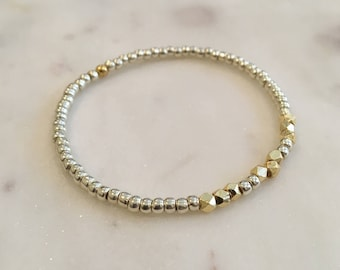 Silver & gold beaded bracelet, silver and gold stackable beaded bracelet, textured silver and gold beads