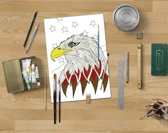 American eagle coloring page,Patriotic coloring,Eagle coloring page,Coloring page adults,Coloring page kid,Instant download,Animal coloring