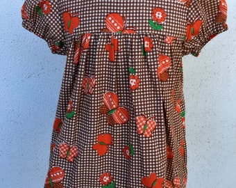 Girls gather top. Vintage check w/ flowers and butterflies. Size 3 & 6