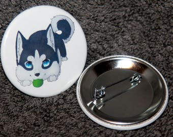 Husky Puppy Pin-back Button