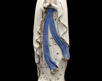 Charming French Antique Our Lady of Lourdes Porcelain Figurine early 1900s Immaculate Conception Hand Painted Statue  6a