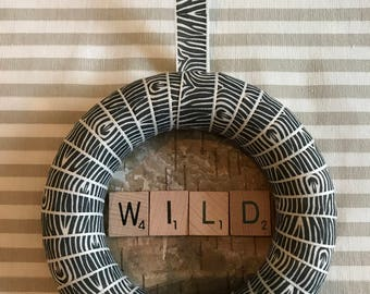 Zebra Print Ribbon Wreath (12cm)