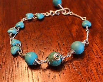 Turquoise, Sterling Silver, Magnesite Toggle Bracelet
