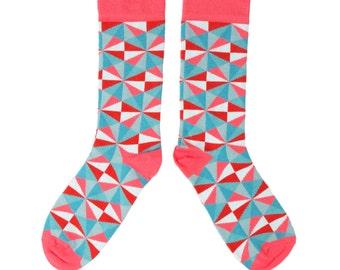 Mens Pink Geometric Socks