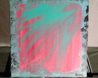 Original Abstract Painting Red/Green Abstract