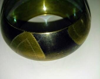 Vintage Antique Brass Engraved Bangle Bracelet