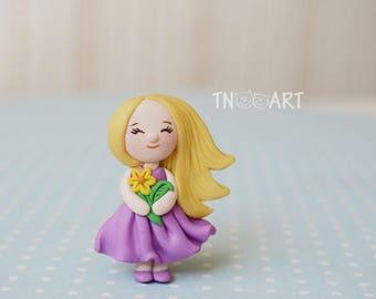 Cute Lovely Tiny Girl Brooch handmade polymer clay jewelry Pin girly dress flower long hair blonde