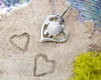 Turtle Honu Heart Necklace Pendant