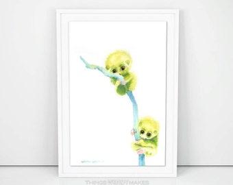 Watercolor Pygmy Babies Digital Download
