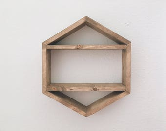 Modern Geometric Shelf- Hexagon Shelf w/ shelves