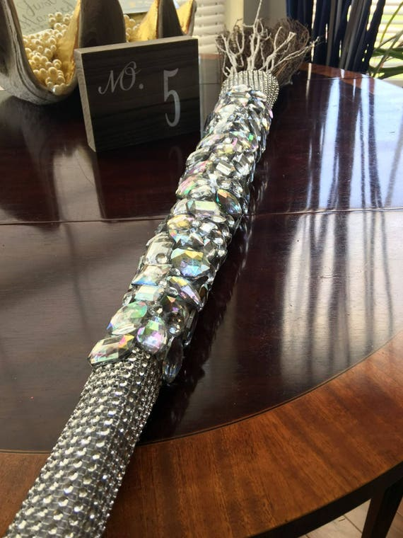 The Gem Jump Bejeweled Wedding Broom... 36' Long Bling Broom with Acrylic Gemstone Order Partial or Custom Full Coverage - Handmade Chanel 5