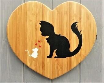 Wooden Heart - Cat Lover - Black - Nursery Wall Art - Baby Shower Kids Gift - Wood Wall Art Decor