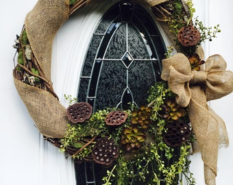 "Burlap and Moss Wreath 24"" grapevine"