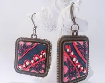 Retro color earrings/ Square earrings/ Red flower earrings/ Polymer clay earrings/ handmade earrings/ Art deco earrings/ Gift for her