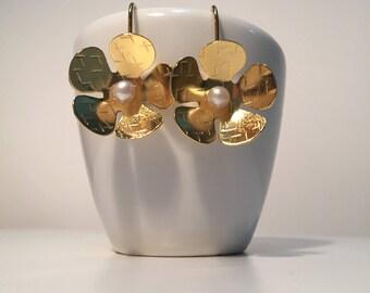 Flower Earrings, Gold Plated Earrings, Handmade Earrings