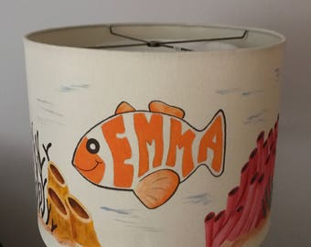 hand painted personalized lampshade fish aquarium