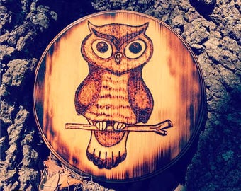 Owl Wood-Burning Art