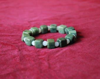 Square Beaded Jade Bracelets