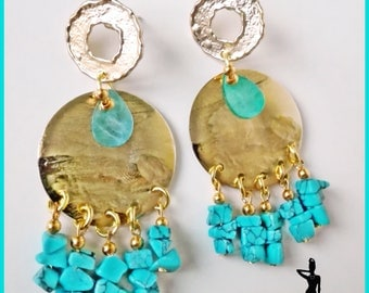Wrought-metal gold and turquoise earrings