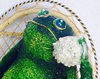 """Unique Gift. 14"""" Woven Grass and Threads Frog. indoor Use Only Handmade Toad Figurine. Eco Friendly Materials Made in USA."""