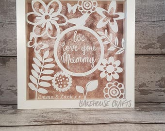 Love you bespoke shadow box frame,wording can be changed, thank you, wedding,anniversary,congratulations,home sweet home,happy birthday,