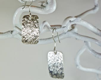 Sterling silver, textured earrings