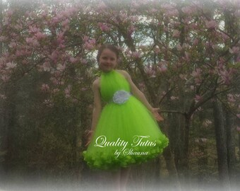High-Neck Lime with White Satin Ribbon Trimmed Junior Bridesmaid Dress