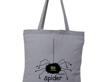 Cute creepy SPIDER grey cotton Tote Bag