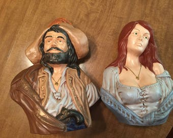 Vintage Ceramic Pirate and Wench Busts Beautiful Busty Pirate Wench Statue Pirate Captain Statue