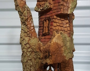 Hand Carved Whimsical House out of Cottonwood Bark