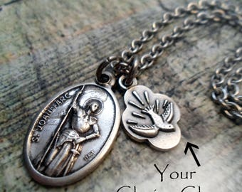 St. Joan of Arc Necklace, Patron Saint Holy Medal, Your Choice Charm, Catholic Jewelry, Confirmation Gift, Girls, Teens, Women All Sizes