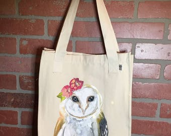 Organic Farmers Market Tote Hand Painted