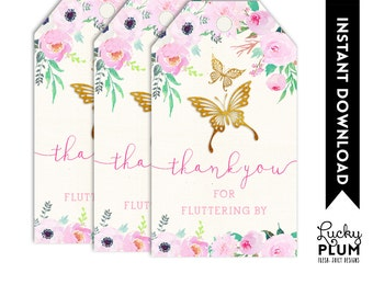 Butterfly Favor Tag / Butterfly Gift Tag / Butterfly Thank You Tag / Woodland Floral Light Pink Garden Chic DIY Printable BY02
