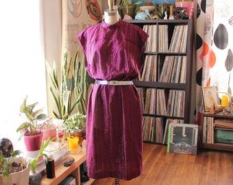 "vintage shift dress . 1970s hot pink metallic lame dress . vintage volup, 48"" hip . plus size vintage dress . 70s 80s disco"