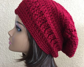 Cranberry Slouchy Hat, Free Shipping,  Red Slouchy  Beanie,  Boho Textured Slouch, Hipster Hat, Woman's Crochet Hat, Trendy Beanie