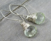 Sterling Silver And Green Amethyst Drop Earrings
