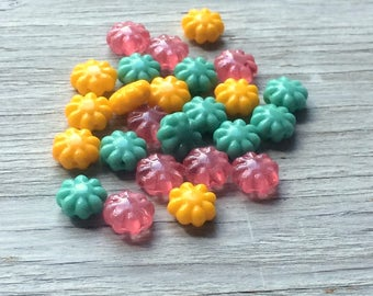 Daisy Flower Beads, Czech glass flower beads 9mm- yellow, pink and tuquoise 25 pack