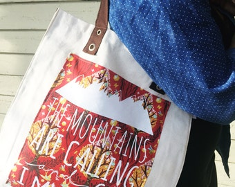 """Tote Bag - """"The Mountains Are Calling"""" - Natural with Brown Gusset and Handles"""