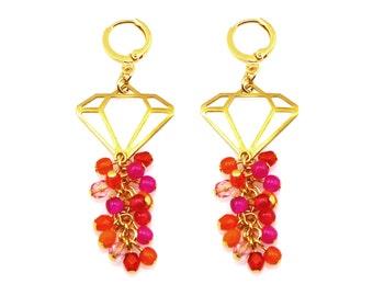 Statement Earrings, Hot Pink Earrings, Orange Earrings, Diamond Earrings, Hot Pink Statement Earrings, Statement Jewelry, Diamond Jewelry