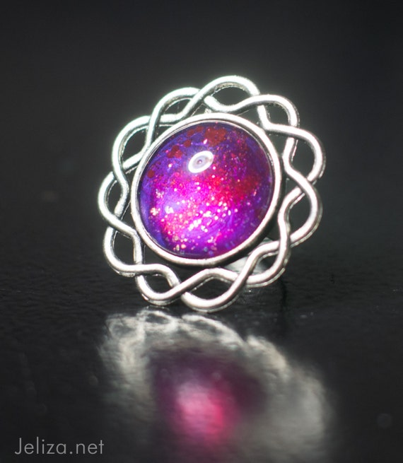 sparkling deep pink space cocktail ring hand-painted OOAK