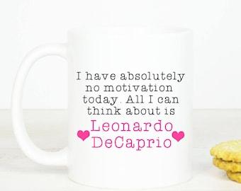 Leonardo DeCaprio mug, Personalised back, lovely Leo fangirl mug