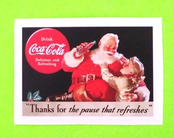 Coca Cola Santa Christmas Holiday Pause That Refreshes Coke Vintage Advertising Style Vinyl Sticker