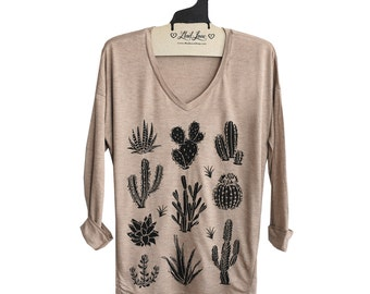 M or L- Tan SUPER SOFT V-Neck Top with Cactus Screen print