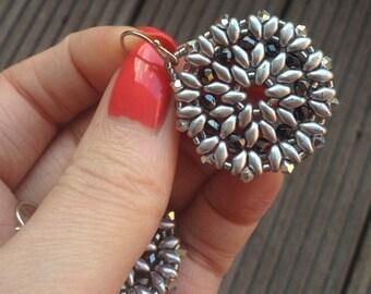 Beaded Earring Mandala, Mandala Earrings, Round Mandalas, Circle Earrings, Bohemian Jewelry, Spiritual Jewelry, Silver Earrings