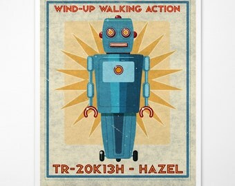 "Retro Robot Art Print- Hazel Box Art Robot Decor 8"" x 10"" Science Fiction Art for Kids Rooms or Robot Nursery Decor- Kid Bedroom"