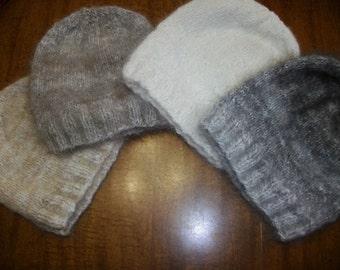 Hand knit 100% angora hat