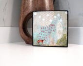 Fox Painting - Mixed Media Collage Art Painting on Wood, A Whimsical Piece of Woodland Wall Decor