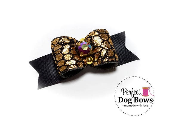 Gold Dog Bow,  Black Formal Dog Bows, Show Dog Bow, Bows for Dog Groomers, Puppy Hair Bow