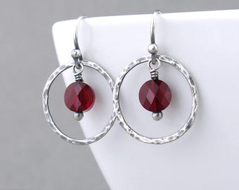 Small Red Earrings Silver Drop Earrings Simple Earrings Gift for Her Unique Crystal Jewelry - Dainty Dot
